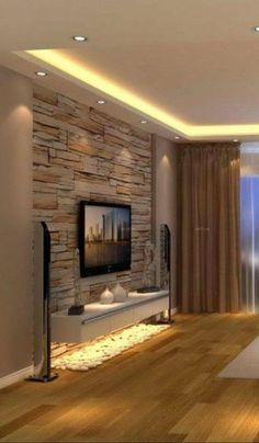 Glamorous Living Room Furniture Design - Reflects Your Modern Lifestyle Home Living Room, Living Room Decor, Stone Wall Living Room, Barn Living, Cozy Living, Modern Tv Wall Units, Modern Tv Room, Tv Wall Decor, Wall Tv