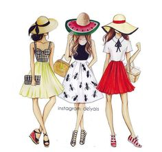 Which outfit are you? #Summer #FashionIllustrations @delyais| Be Inspirational ❥|Mz. Manerz: Being well dressed is a beautiful form of confidence, happiness & politeness
