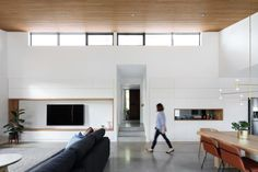 Letting the materials speak for themselves: A look inside Inner South's Brick House Heated Concrete Floor, Concrete Bricks, Concrete Floors, Home Living Room, Living Spaces, Timber Ceiling, S Brick, Timber Panelling, Interior Architecture
