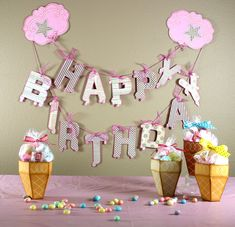 Ice Cream themed birthday party from the Pazzles Craft Room. Cutting files and instructions for this birthday banner and ice cream cone treat box are available in WPC, AI, and SVG cutting files.