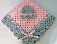 Hand-Crochet Baby Blanket and Hat Set granny square baby Crochet Afgans, Crochet Quilt, Hand Crochet, Crochet Baby Blanket Free Pattern, Granny Square Crochet Pattern, Crochet Patterns, Crochet Granny, Crochet Crafts, Crochet Projects