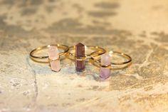 TROIS STYLES disponible Flourite améthyste & anneaux de Point pour le cristal de Quartz Rose