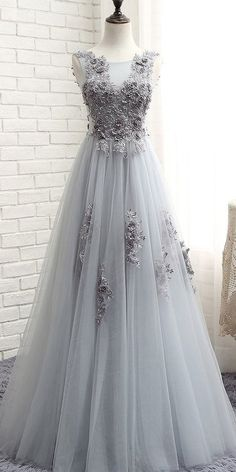 Wedding Dresses Ball Gown, Junoesque Tulle Jewel Neckline Floor-length A-line Prom Dresses With Lace Appliques & Beaded Flowers DressilyMe A Line Prom Dresses, Sexy Wedding Dresses, Cheap Wedding Dress, Ball Dresses, Designer Wedding Dresses, Ball Gowns, Party Dresses, Unconventional Wedding Dress, Beautiful Outfits