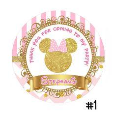 Rosa y oro Minnie Mouse cumpleaños etiqueta por TonyPartyFavor