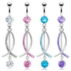 "{Aqua} CZ and Multi Pave Gems Fish Dangle Navel Ring - 14 GA 3/8"" Long (6mm & 8mm) - Aqua West Coast Jewelry. $6.95. Save 71% Off!"