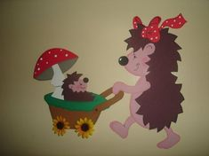 Momma taking baby hoglet for a stroll ♡ Diy And Crafts, Crafts For Kids, Paper Crafts, Autumn Crafts, Yoshi, Kindergarten, Projects To Try, Clip Art, Bird