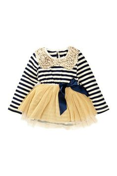 Sequin Collar Striped Tulle Dress -