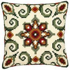 Aztec Green Geometric - Vervaco Canvas - Tapestry Cushion Kit - 1200652