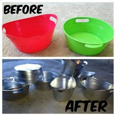 Take plastic bins from the dollar store and upgrade them using metallic spray paint to give them a tin finish! This would be good for parties and such - looks good, inexpensive, they wont get dinged up and wont rust or leak!!