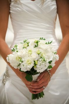 Elizabeth Wray Design- Bridal bouquet of white mums, stock, freesia, and roses. Todd James Photography