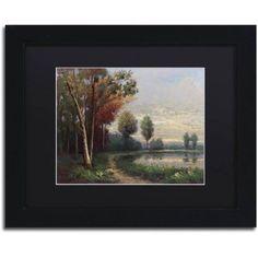 Trademark Fine Art Landscape with a Lake Canvas Art by Daniel Moises, Black Matte, Black Frame, Size: 16 x 20