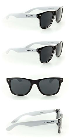 Coyote P23 Designer Wayfarer Sunglasses with Polarized Lenses and Dark Tint for Modern, Stylish Men and Women (Black & White w/ Smoke Lens), Coyote P23 glasses are the epitome of cool. The classic wayfarer frame has been consistently popular from the time it was introduced in the late 50s, having been seen on countless musicians, movie sta..., #Apparel, #Sunglasses, $39.99
