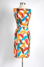 1950's Polished cotton dress with beading