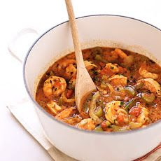 New Orleans-Style Shrimp and Rice minus the bacon--substitute chicken broth with vegetable and brown rice for the white rice.