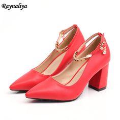 3dbb55b320b6 15.83 30% de réduction|Printemps automne classique femmes pointu bout  pointu pompes mode en cuir véritable talon haut rouge Nude chaussures de  bureau 5 CM/7 ...