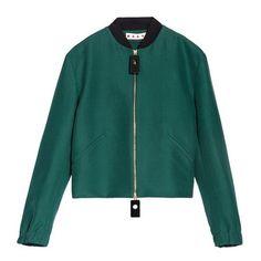 Marni Sporty Jacket (125.510 RUB) ❤ liked on Polyvore featuring outerwear, jackets, green bomber jacket, green jacket, marni jacket, long sleeve jacket and green zipper jacket