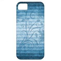 Vintage Blue Striped Floral Wallpaper iPhone 5 Cover