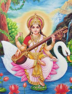 Goddess Saraswathi is the Hindu goddess of education, music, arts, knowledge and learning. Find a good collection of Goddess Saraswati images & wallpapers. Saraswati Mata, Saraswati Goddess, Lord Saraswati, Hindus, Saraswathi Pooja, Indiana, Photos Free, Divine Goddess, Mother Goddess
