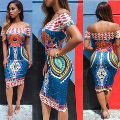 Women Sexy Off Shoulder Dress 2016 NewTraditional African Print Dashiki Bodycon Short Sleeve Dress