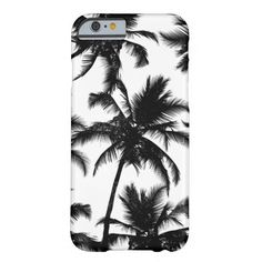 Modern black and white tropical palm trees pattern