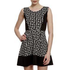 Vestido Geométrico B&W
