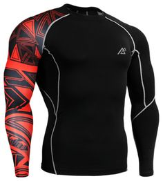 Life On Track Compression Shirts for Men Long Sleeves Printing Base Layer Running Training Gym MMA Body Building Workout Fitness Fix Gear Top (Intl)