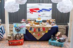 Planning a party for your airplane-loving child? Soar on over to this Vintage Airplane Birthday Party here at Kara's Party Ideas. Birthday Party Tables, 1st Boy Birthday, 2nd Birthday Parties, Birthday Ideas, Birthday Games, Birthday Board, Happy Birthday, Vintage Airplane Theme, Vintage Airplanes