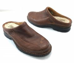 UGG Australia 5526 Brown Leather Sheepskin Lining Mocs Clogs Shoes Mens 9  #UGGAustralia #LoafersSlipOns