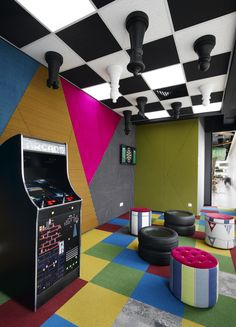 Game Room - Google's Kuala Lumpur Offices - Arcade, Video Games, Chess Board Ceiling