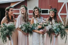 Bridesmaids in blush pink dresses with flower crowns