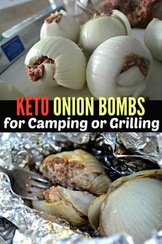 These keto onion bombs are bomb for grilling & camping onion bombs, food videos, Low Carb Keto, Low Carb Recipes, Cooking Recipes, Aldi Recipes, Budget Recipes, Keto Meal, Camping Snacks, Camping Dishes, Cauliflowers