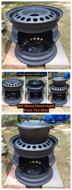 DIY Wood Stove made from Tire Rims that I use for my cast iron skillet cooking! DIY Wood Stove made from Tire Rims that I use for my cast iron skillet cooking! Metal Projects, Welding Projects, Outdoor Projects, Diy Welding, Metal Welding, Welding Tools, Welding Ideas, Diy Projects Recycled, Recycling Projects