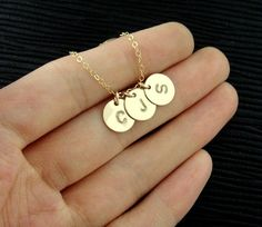 C B J three letters disc necklace alphabet monogram initial name necklace gold silver plated necklace bridesmaids brides party friendship gifts on Etsy