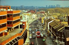 Wood Green Shopping City Multistory Car Park looking south to High Road and Turnpike Lane tube station April North London, Old London, East London, Enfield Middlesex, High Road, London Pictures, London Transport, Historical Pictures, Car Parking