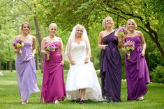 Purple bridesmaids in Tennessee; JoPhoto   --> I like the different shades of the main color (going from light to dark in blue?)