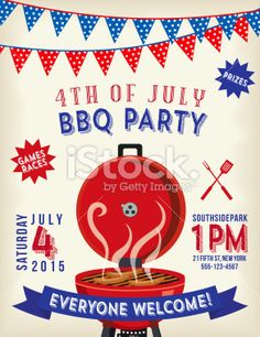 4th Of July BBQ Invitation Template Royalty Free Stock Vector Art Illustration