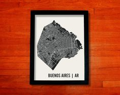 Buenos Aires Map Art CityPrint 18 x 24 by MrCityPrinting on Etsy