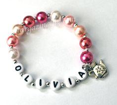 Tea Party Favor Little Princess Teapot Tea Pot Charm Bracelet Personalized Pretty in Pink Pearls YOU CHOOSE CHARM