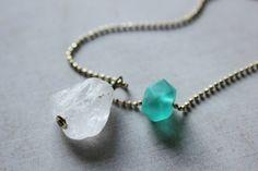 Winter Mint green-minimalist raw crystal necklace-raw stone necklace-raw quartz necklace-geometric long necklace-healing crystal necklace by xuanqirabbit on Etsy