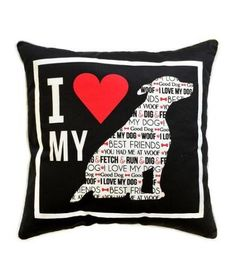 Red Black and White I Love My Dog Decorative Throw Pillow 18x18