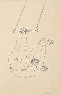 ALMADA NEGREIROS, 1893-1970. Trapezista, tinta da China sobre papel,  27 x 18 cm