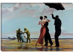 "Dancing Butler On Toxic Beach Crude Oil by Banksy Canvas Art Print (2120) 18""x12"". $39.99, via Etsy."