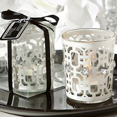 White Accented Candle Holders
