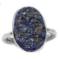 Lapis Druzy 925 Sterling Silver Ring Jewelry s.9 LDZR99