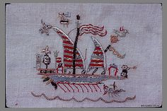 Towel, Silk and metal thread on linen, Greek Islands, Skyros Motifs Textiles, Vintage Textiles, Greek Design, Holiday Traditions, Greek Islands, Metropolitan Museum, Embroidery Stitches, Folk Art, Primitive