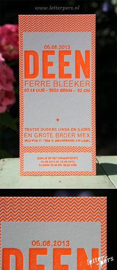 letterpers_letterpress_geboortekaartje_deen_fluor_neon_oranje_stoer_katoen-papier