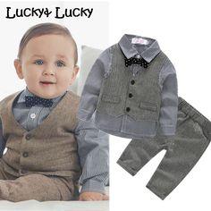 (4pcs/set) wedding baby clothing set newborn baby clothes shirt+vest+pant+bow