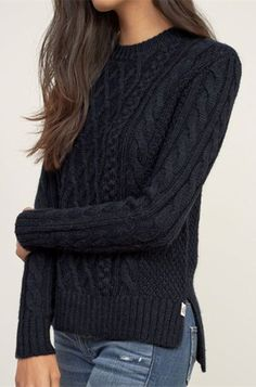 Sweaters for women- the stylish collection sweaters for women chic solid color round collar twist wave side slit pullover sweater for urpwvgg Cable Knit Sweaters, Pullover Sweaters, Women's Sweaters, Sweater Cardigan, Big Sweater, Black Cardigan, Long Cardigan, Black Sweaters, Diy Pullover