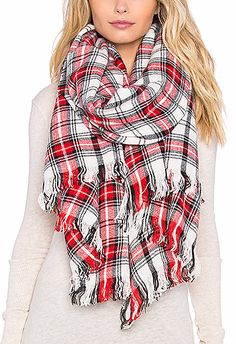 checkered red large scarf