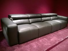 Binari electric recliner in black leather. This sofa was delivered to our client's theater room in Harpenden, Hertfordshire. Each seats are wide. Contemporary Sofa, Modern Sofa, Catnapper Furniture, Leather Reclining Sofa, Modular Design, Corner Sofa, Sofa Design, Recliner, Electric